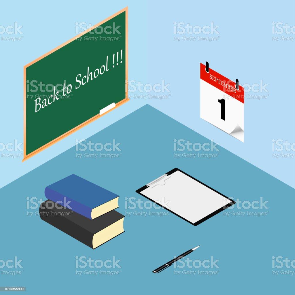 Back to school. Books, checklist, clipboard and pen on desktop, worktable. Calendar on the wall. Vector illustration vector art illustration