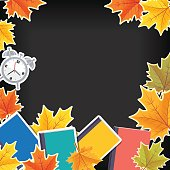 Back To School Border With Fall Leaves And Icons