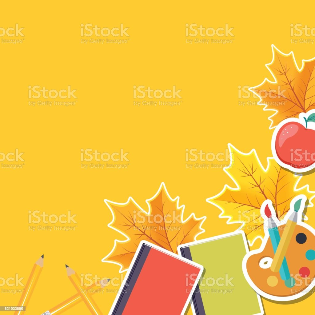 Back To School Border With Fall Leaves And Icons vector art illustration