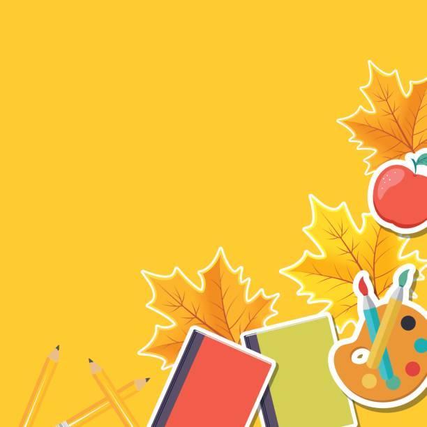 ilustraciones, imágenes clip art, dibujos animados e iconos de stock de volver a escuela frontera con hojas de otoño y los iconos - clase de arte
