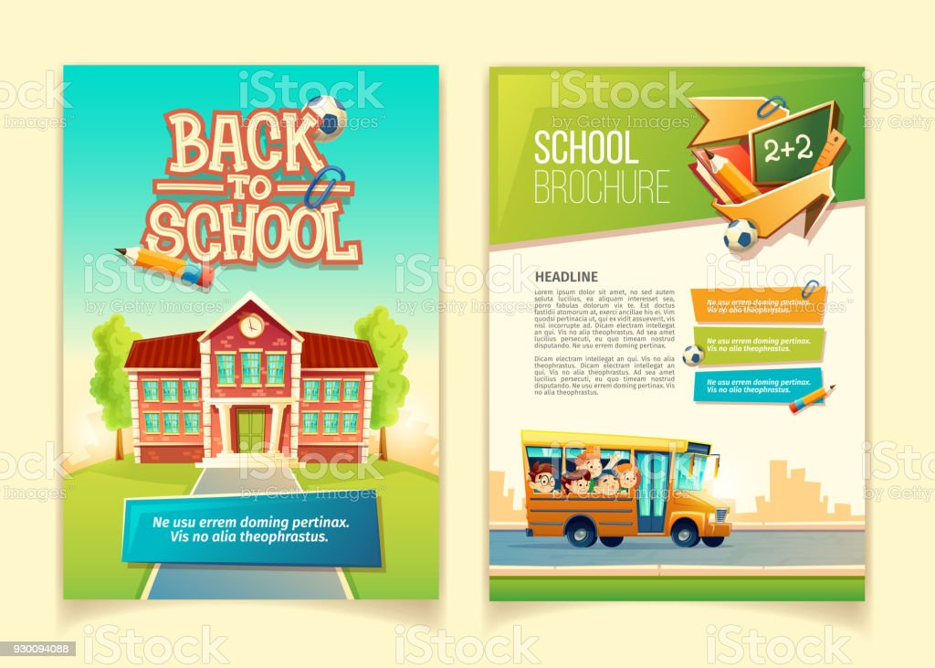 Back to school brochure vector cartoon template back to school brochure vector cartoon template - immagini vettoriali stock e altre immagini di allievo royalty-free