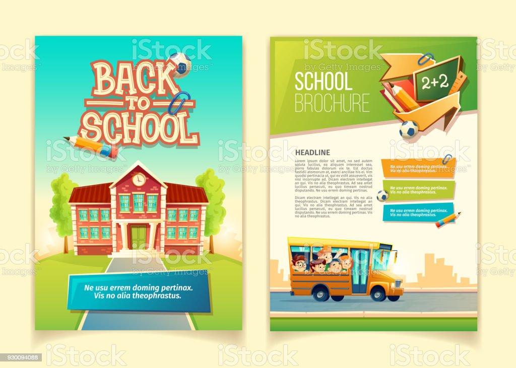 Volver a escuela folleto vector dibujos animados plantilla - ilustración de arte vectorial