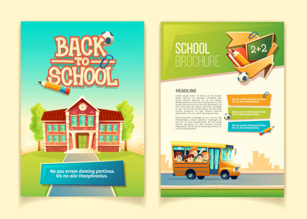 back to school brochure vector cartoon template - school stock illustrations