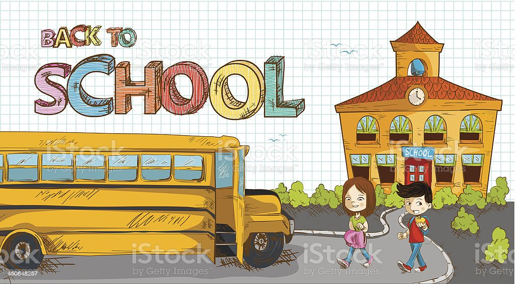 Back to school building, bus with kids illustration. royalty-free stock vector art