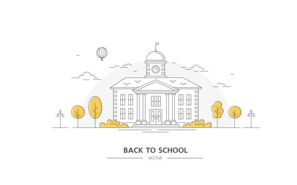 Back to school. Building with trees. Line art. Back to school. Building with trees. Line art. Vector illustration. Poster and banner on Education college stock illustrations