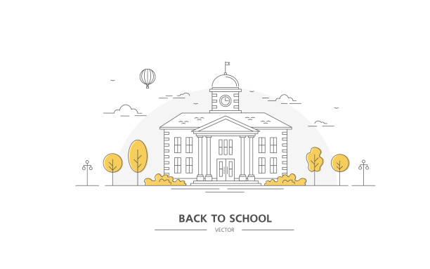 illustrations, cliparts, dessins animés et icônes de retour à l'école. bâtiment avec des arbres. art de ligne. - université