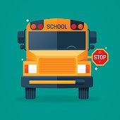 Back to school bus flat concept illustration.
