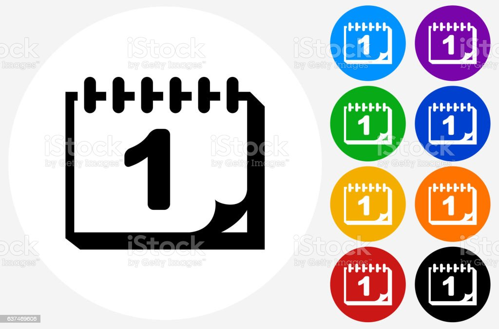 Back to School Calendar Icon on Flat Color Circle Buttons vector art illustration