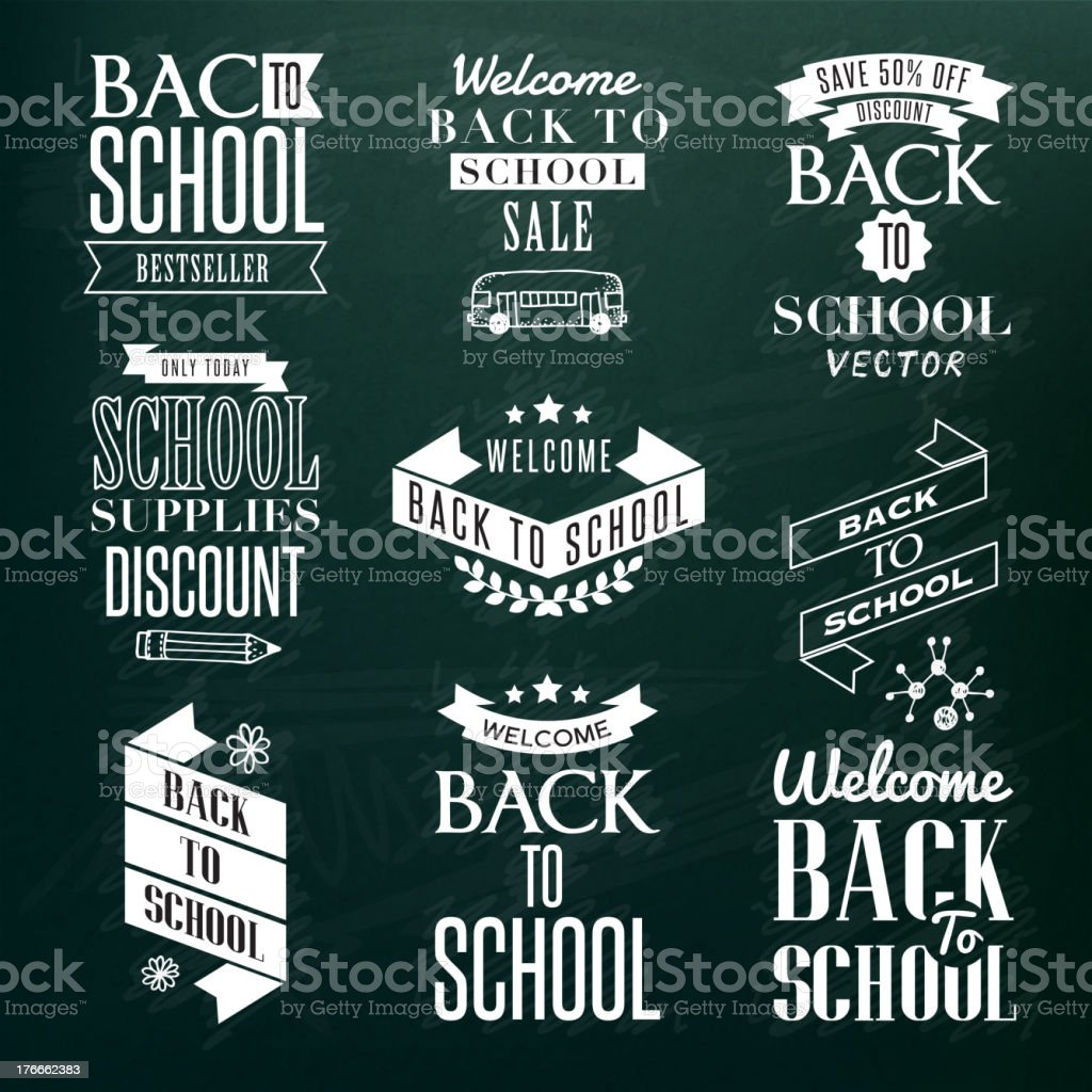 Back to School Calligraphic Designs royalty-free back to school calligraphic designs stock vector art & more images of august