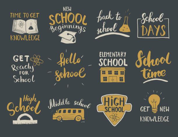 ilustraciones, imágenes clip art, dibujos animados e iconos de stock de conjunto de letras caligráficas de regreso a la escuela. diseño tipográfico. caligrafía letras con elementos escolares esboza garabatos. ilustración vectorial dibujada a mano - escuela media