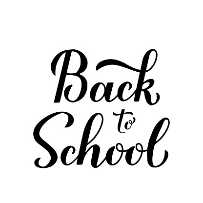 Back to school calligraphy hand lettering isolated on white. Vector template for typography poster, logo design, banner, flyer, greeting card, postcard, t-shirt, etc.