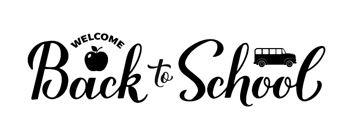 Back to school calligraphy hand lettering isolated on white. Vector template for typography poster, banner, logo design, flyer, greeting card, postcard, t-shirt