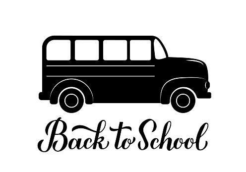 Back to school calligraphy hand lettering with school bus. Vector template for typography poster, logo design, banner, flyer, greeting card, postcard, t-shirt