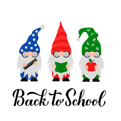 Back to School calligraphy lettering with cute gnomes. Gnome students. Vector template for banner, poster, greeting card, t-shirt