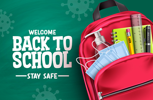 Back to school campaign vector design. Welcome back to school stay safe text in chalkboard background