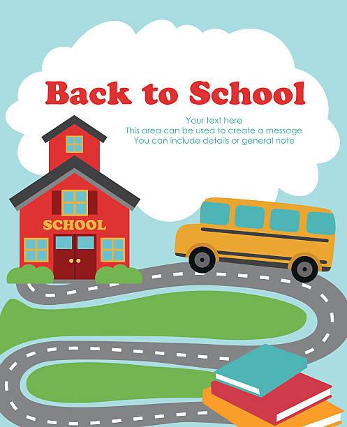 back to school card design back to school card design. vector illustration schoolhouse stock illustrations