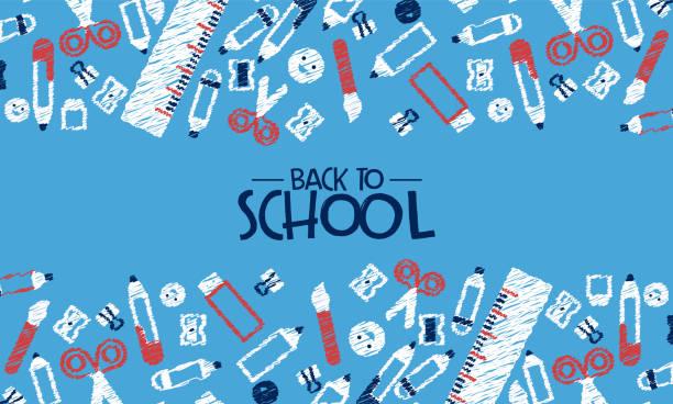 ilustraciones, imágenes clip art, dibujos animados e iconos de stock de volver a la tarjeta de la escuela divertidos iconos de garabatos de secundaria - escuela media