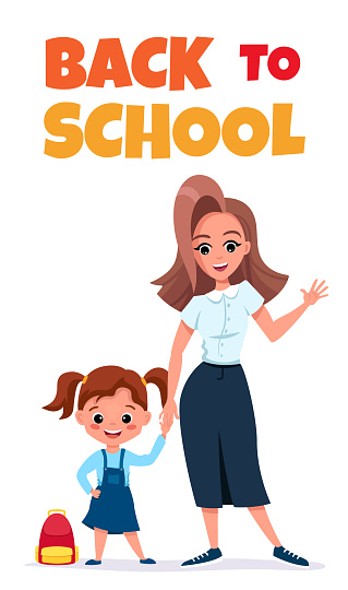 Back to school card or phone banner with cute schoolchild. Editable template for social media or marketing templates.