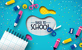 Back to school event illustration of colorful children class supplies in modern 3d papercut style. Fun kids decoration with color paper cutout shapes.