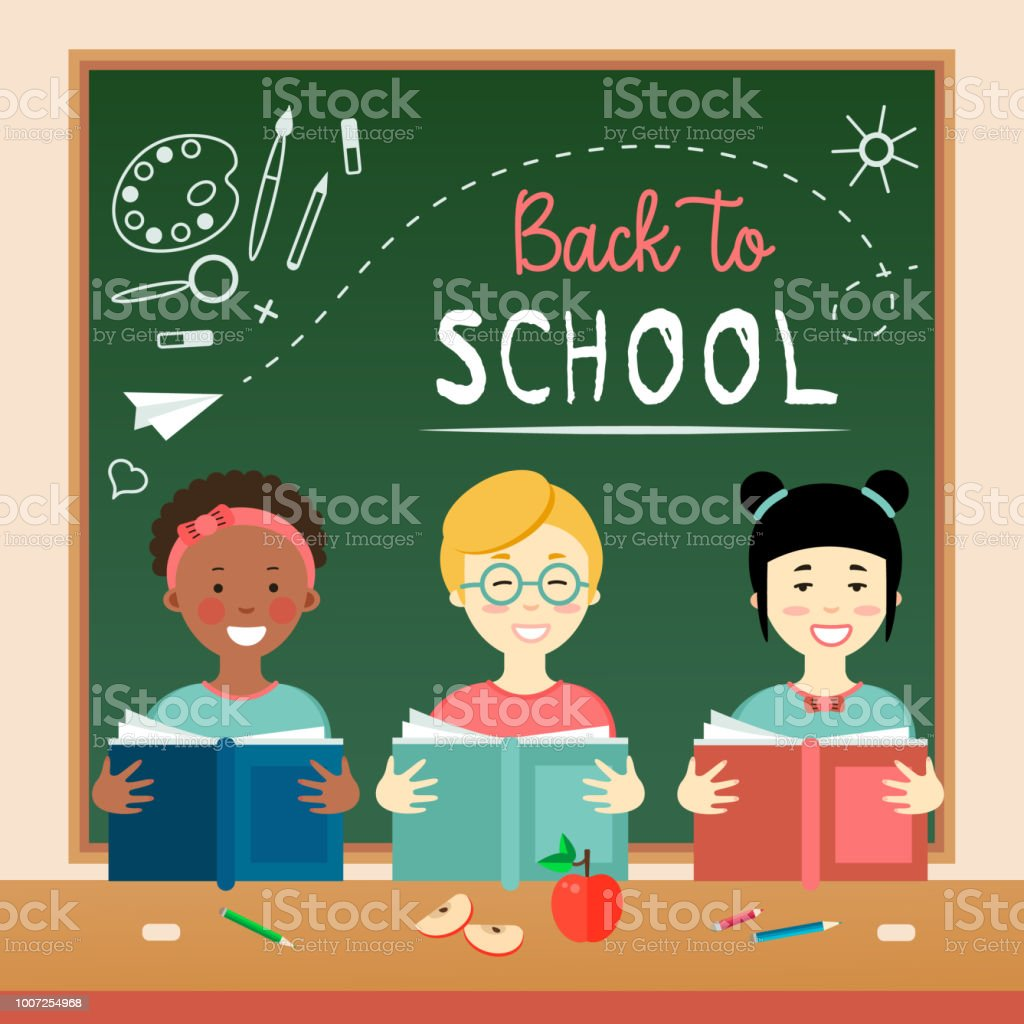 b42d09125 Back To School Card With Cute Characters Stock Vector Art & More ...