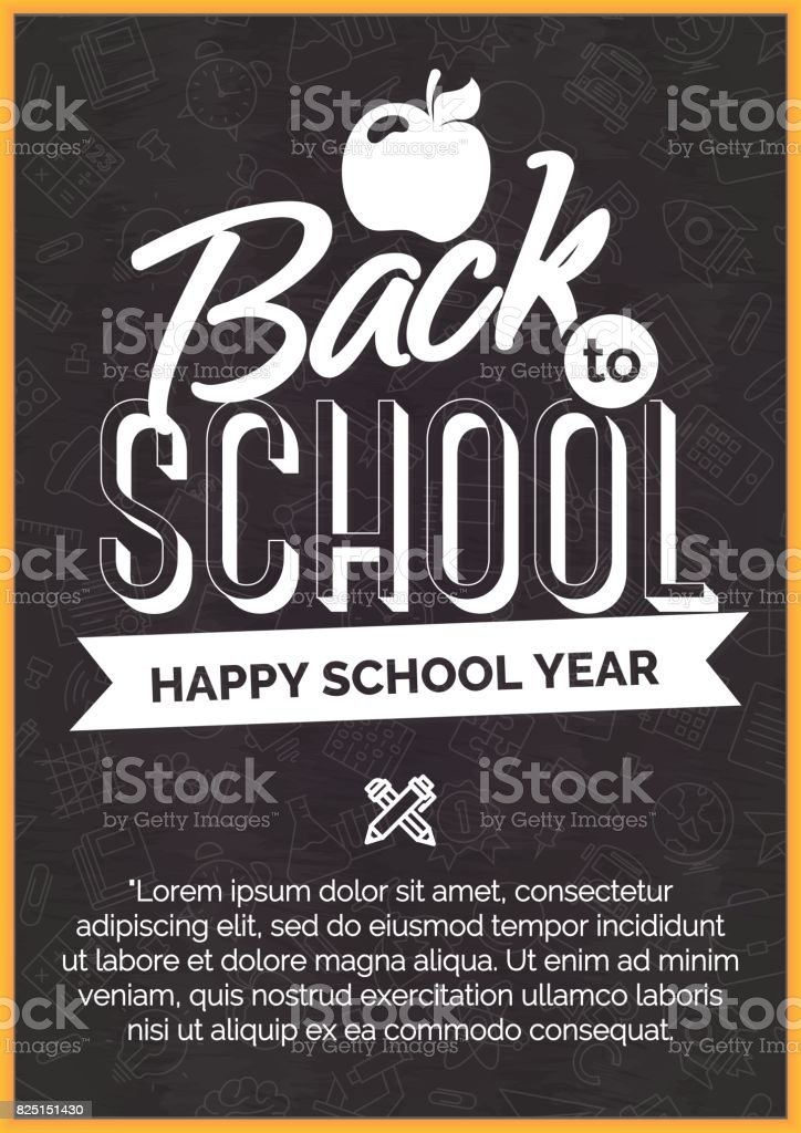 Back to school card with white label on black chalkboard vector art illustration