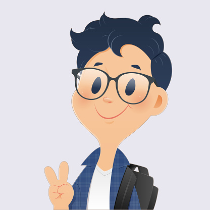 Back to school, Cartoon boy student showing thumb-up