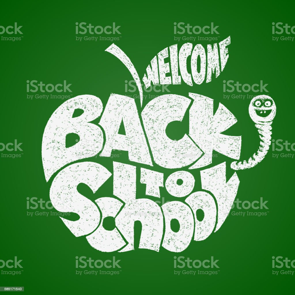 Back to school. Chalk lettering inscribed in the apple shape