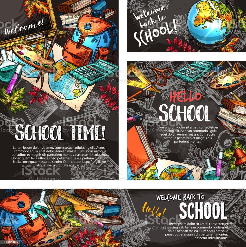 Back to school chalkboard banner template set vector art illustration