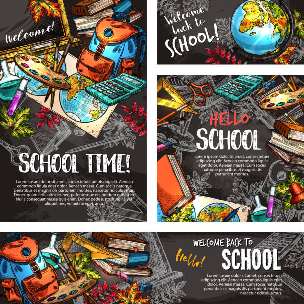 back to school chalkboard banner template set - primary school stock illustrations, clip art, cartoons, & icons