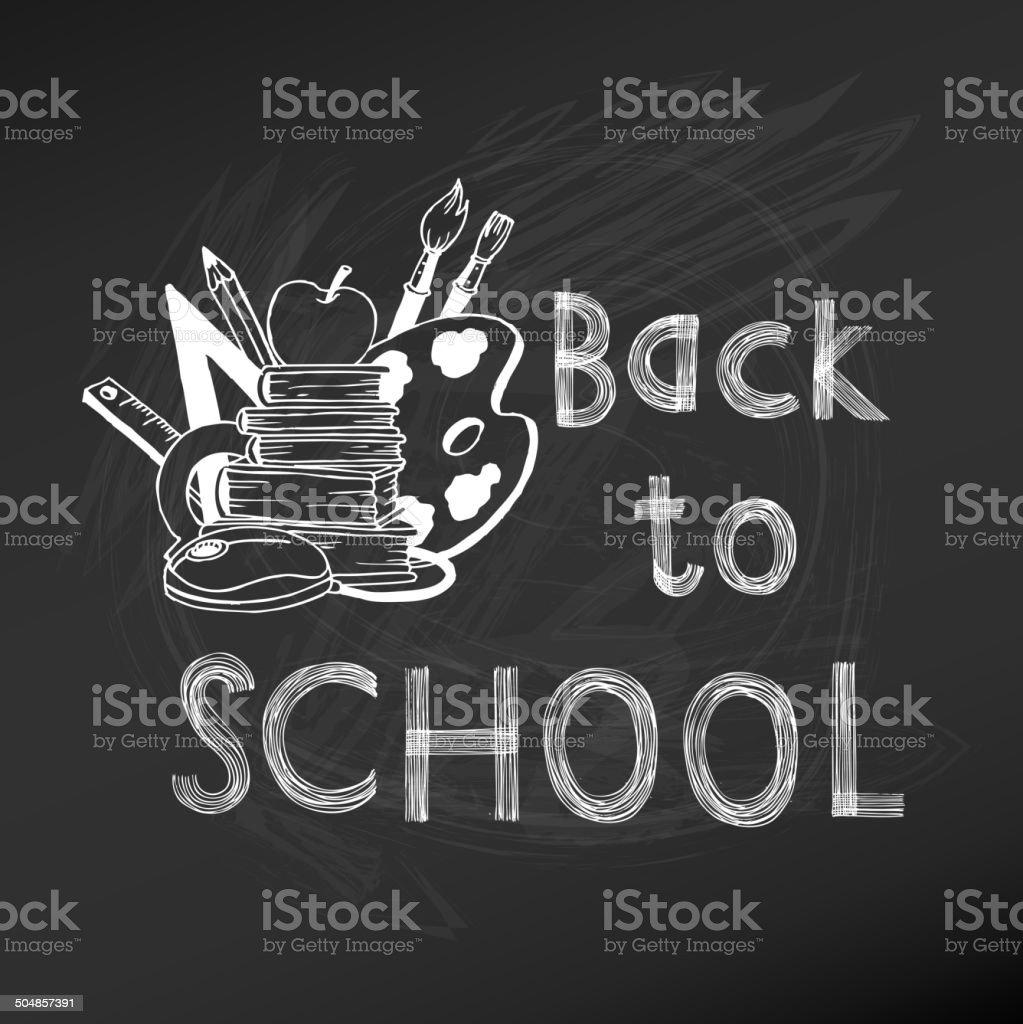 Back to School Chalkboard Illustration vector art illustration