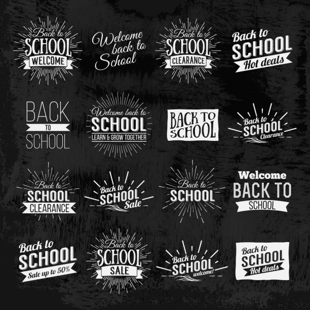 Back to School Chalkboard lettering Back to School Calligraphic Designs Label On Chalkboard. Retro Style Elements. Chalk lettering Back to School. Vintage Style Back to School Hot Deals Design Layout In Vector. Logo Lettering poster. back to school stock illustrations