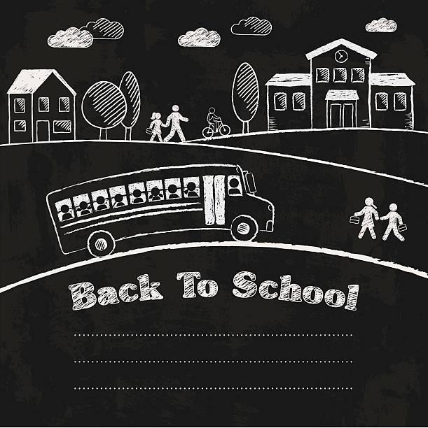 ilustraciones, imágenes clip art, dibujos animados e iconos de stock de back to school chalkboard - autobuses escolares