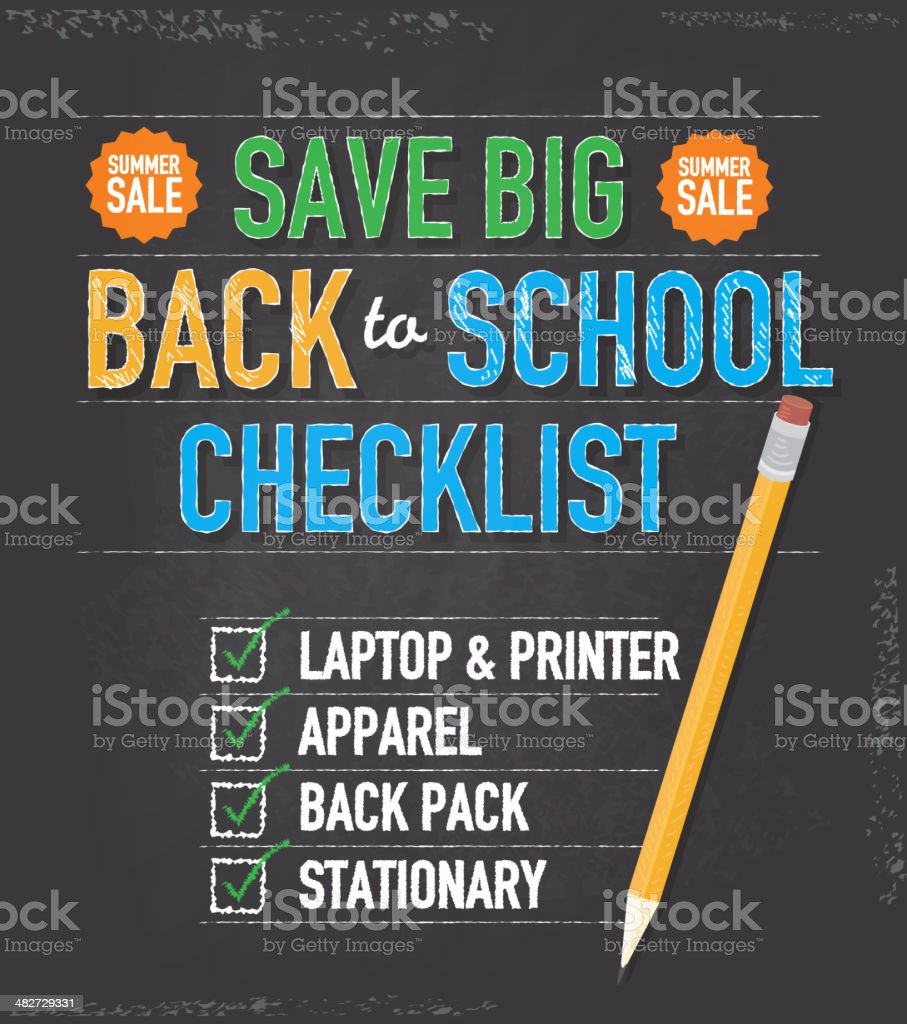 Back to school checklist design template royalty-free stock vector art
