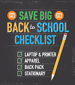 Vector illustration of a Back to School checklist themed design template. Includes sample text design, pencil, and chalkboard background with texture. Separate layers in Illustrator file for easy editing and customization. Download includes Illustrator 10 eps, high resolution jpg and png.