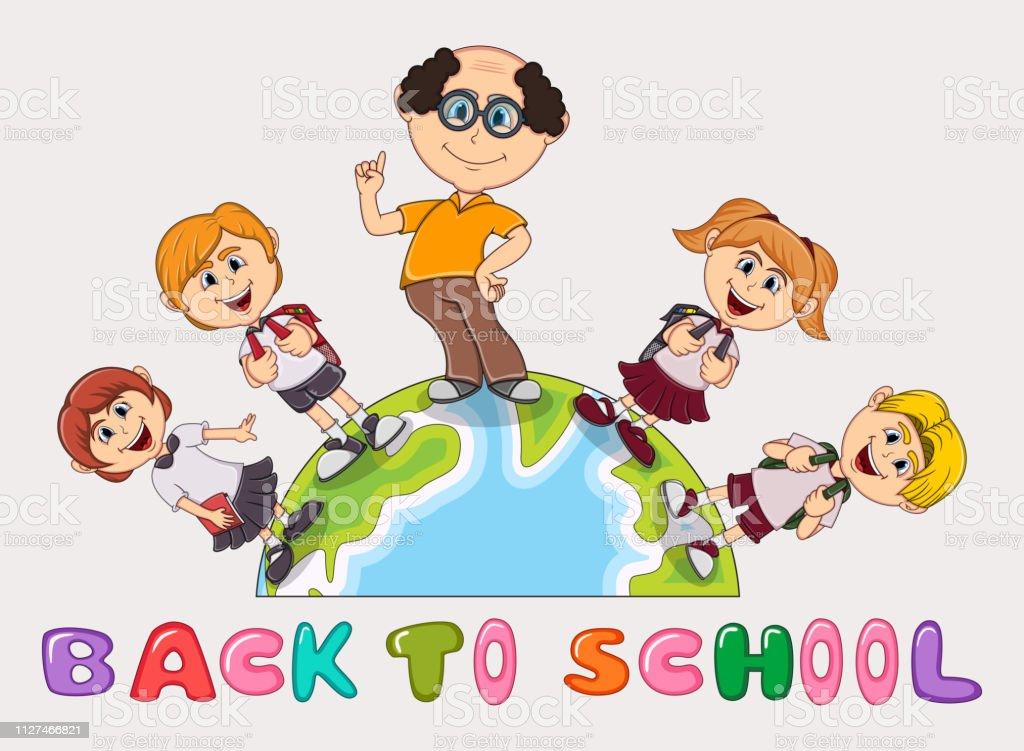 Back to School children, and teacher cartoon - full color
