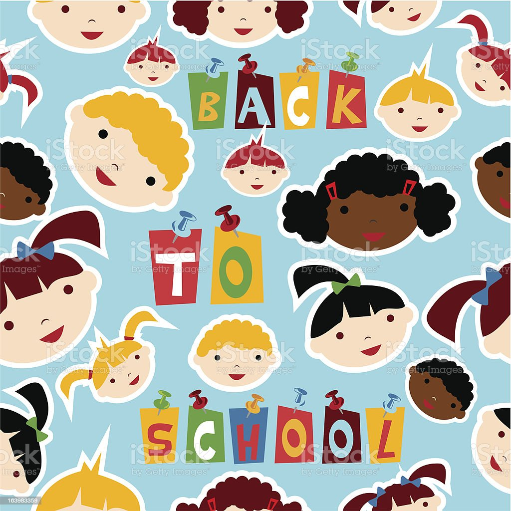 Back to School children team pattern royalty-free stock vector art