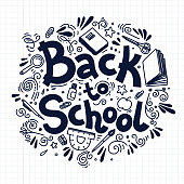 Back to school circle composition on plaid background. Doodle style vector illustration.