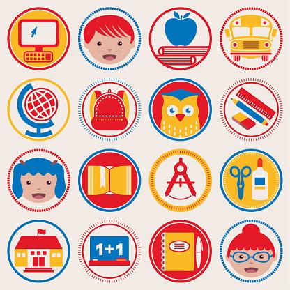Back to School circle icons set