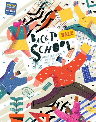 Back to school, college or university. Vector illustration of schoolchildren and students running to study and education for a poster, cover or banner. Drawing teenagers for the background