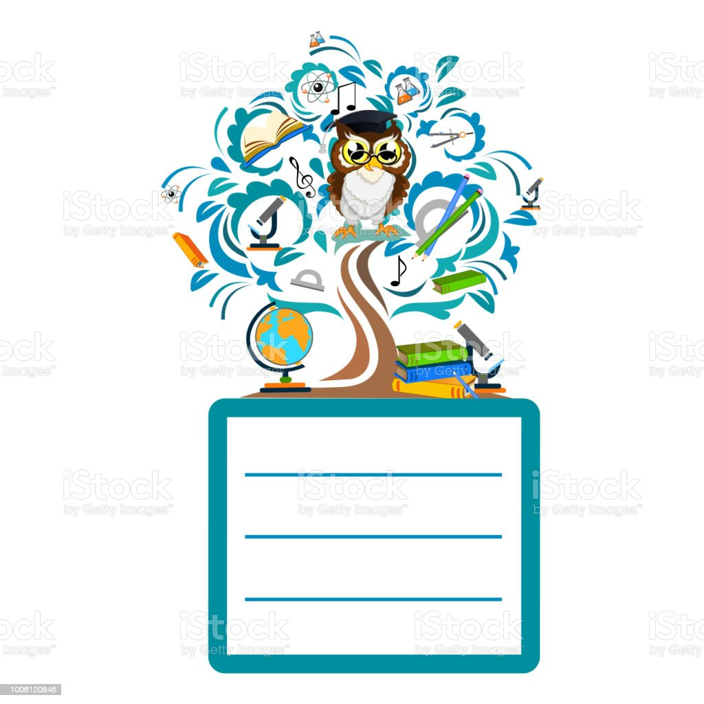 Back To School Color Background With Owl Stock Vector Art & More ...