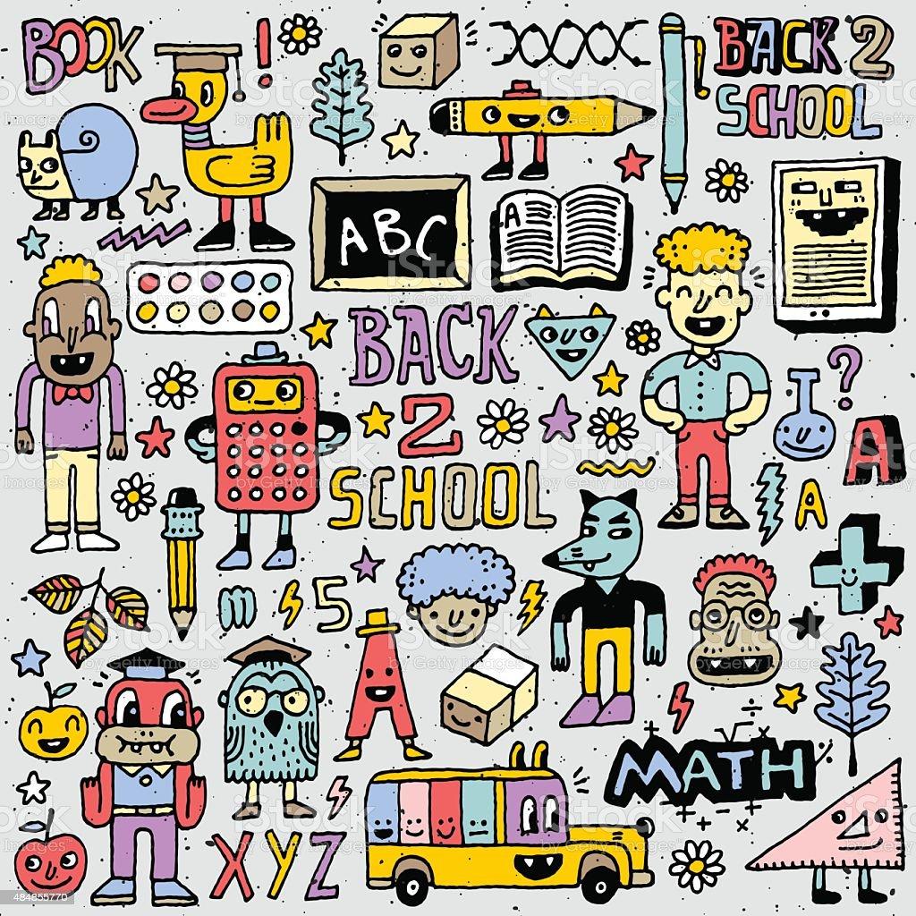 Volta Para Escola Conjunto De Desenhos Coloridos De 2 Ilustração