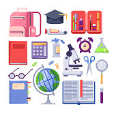 Back to school colorful icons and vector design elements. Education stationery supplies and tools isolated on white background.
