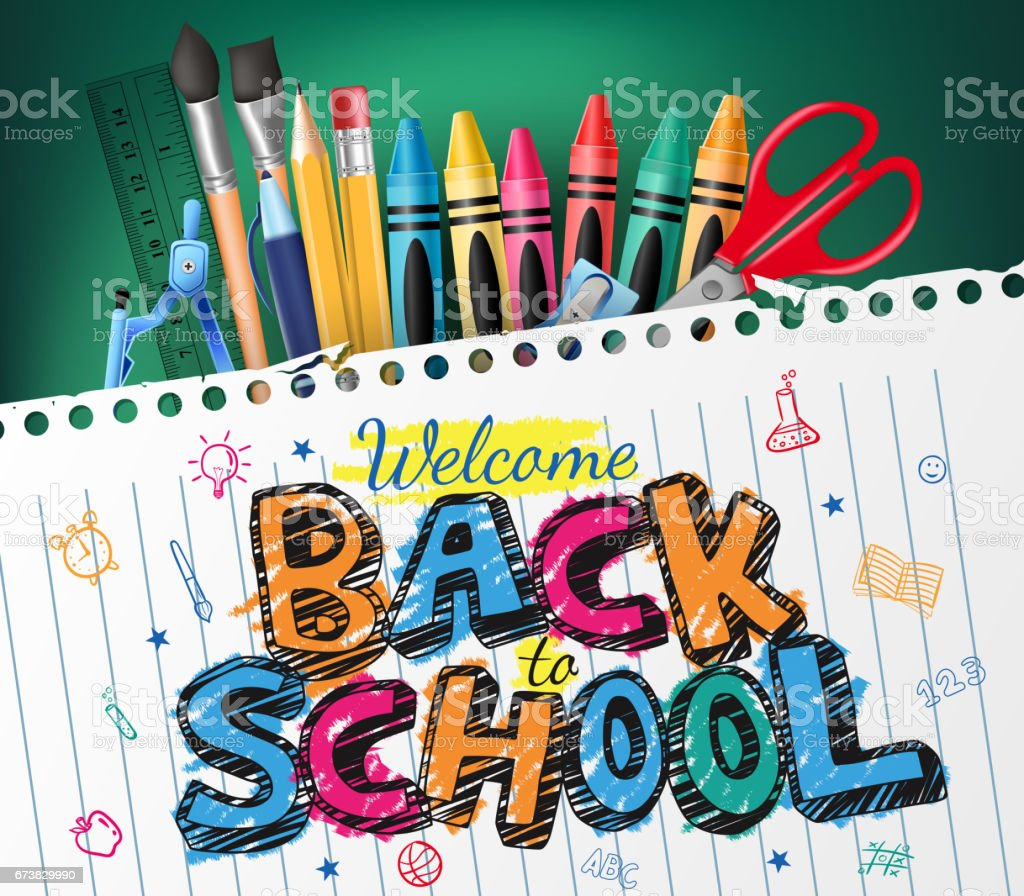 Back to School Colorful Text Drawn in Piece of Paper vector art illustration