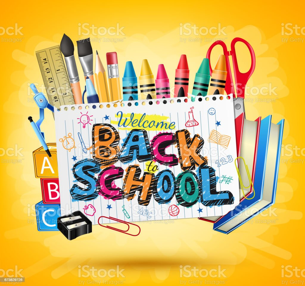 Back to School Colorful Text in White paper with Items vector art illustration