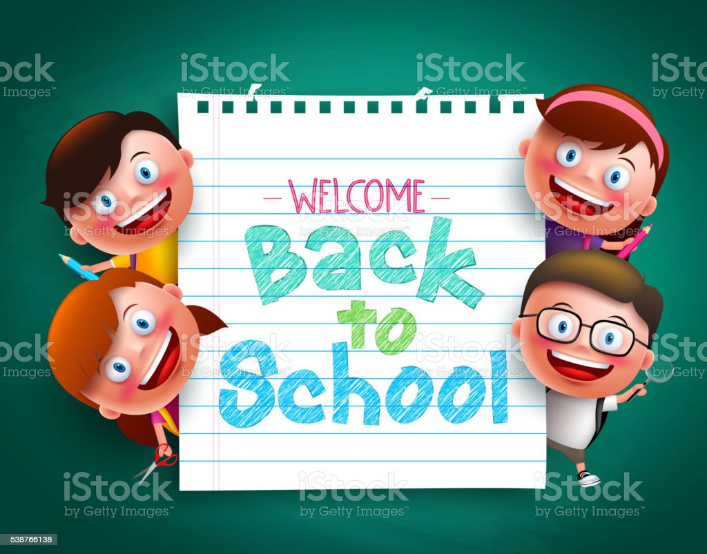 Back to school colorful  text  with funny kids vector characters vektör sanat illüstrasyonu