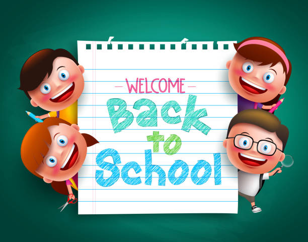 bildbanksillustrationer, clip art samt tecknat material och ikoner med back to school colorful  text  with funny kids vector characters - förskolebyggnad