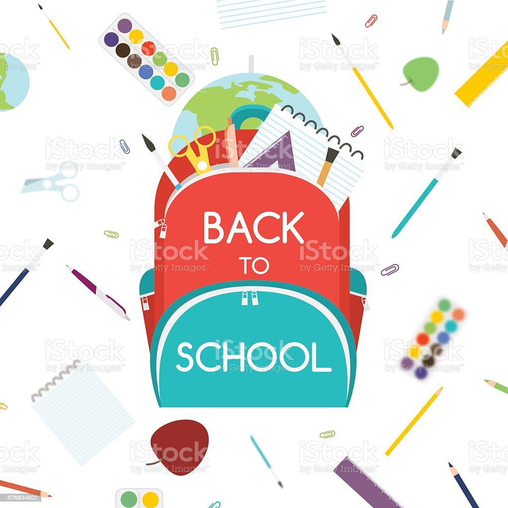 Back to School concept. Backpack with school supplies. Vector illustration. векторная иллюстрация