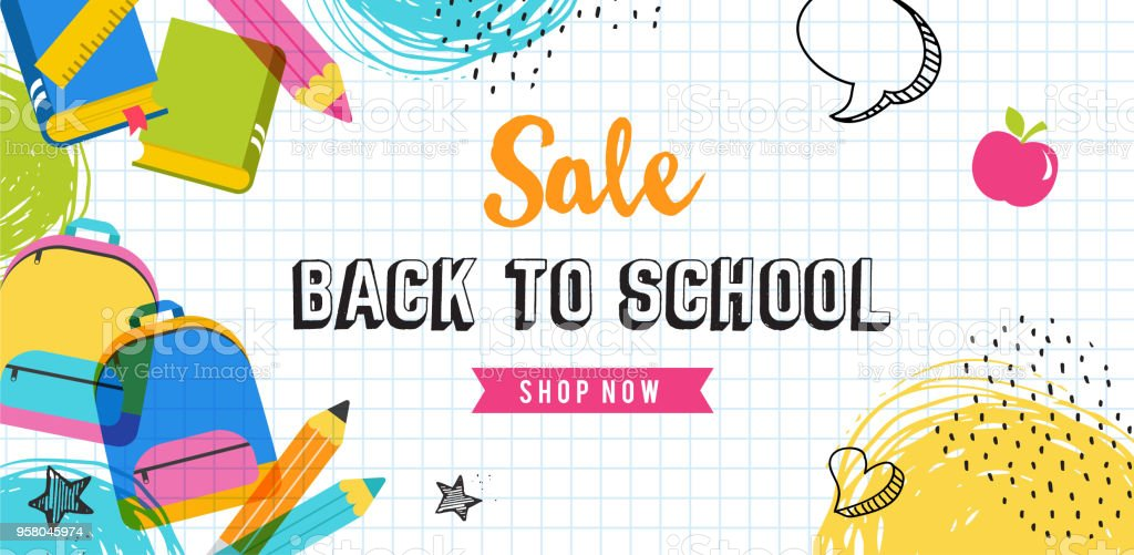 Back to school concept banner and background vector art illustration