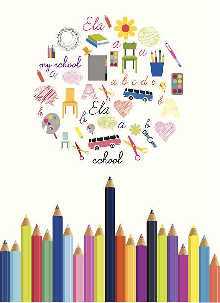 powrót do szkoły koncepcja.  kolorowe ołówki tle. - back to school stock illustrations