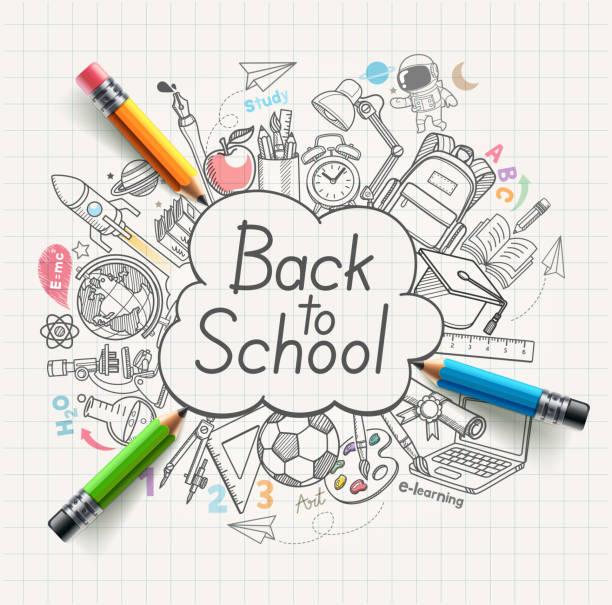 Zurück zum Schulkonzept Doodles. Vektor-Illustration. – Vektorgrafik